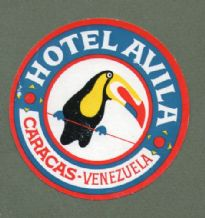 Collectable Hotel label luggage label Venezuela Toucan bird